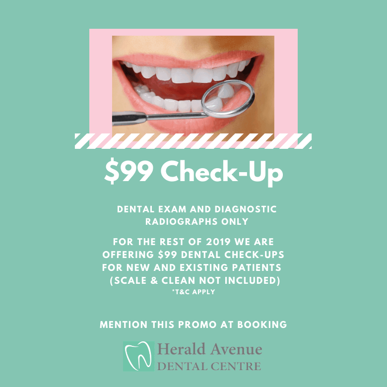 $99 dental check-up promo at herald avenue dental clinic in willetton